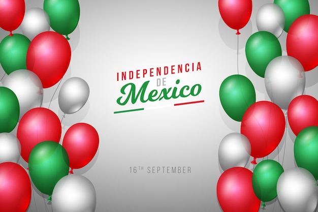 Realistic independencia de méxico balloon background