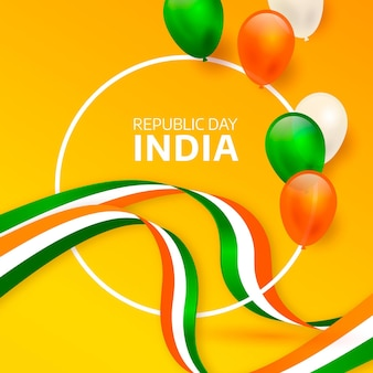 Realistic india republic day with balloons