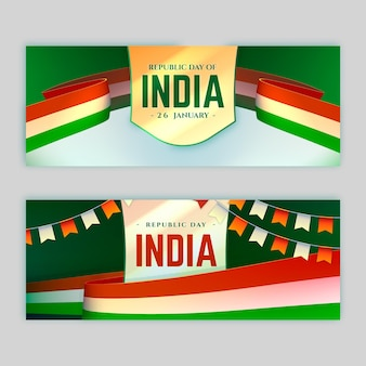 Realistic indian republic day banner template