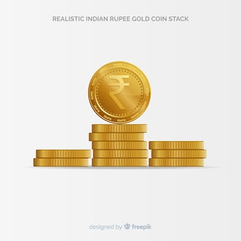 Realistic indian rupee gold coin stack