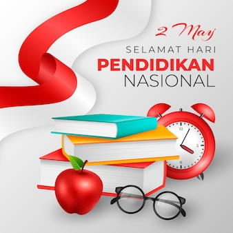 Realistic indonesian national education day illustration