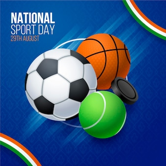 Realistic indonesian national sports day illustration