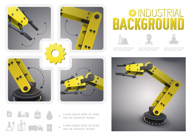 Realistic industrial composition with yellow mechanical robotic arms and oil industry icons