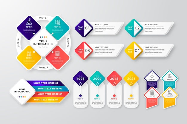 Realistic infographic element collection