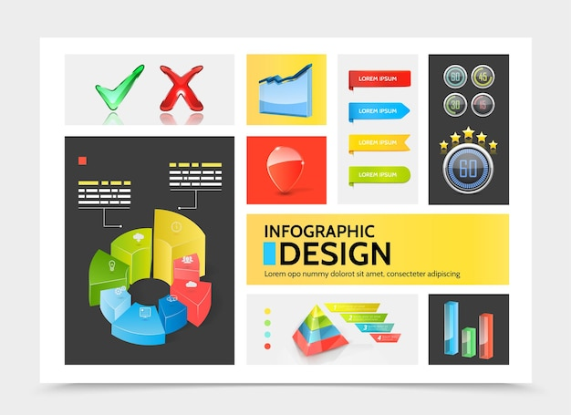 Elementi infographic realistici concetto colorato con grafici cerchio diagrammi nastro banner bar piramide affari