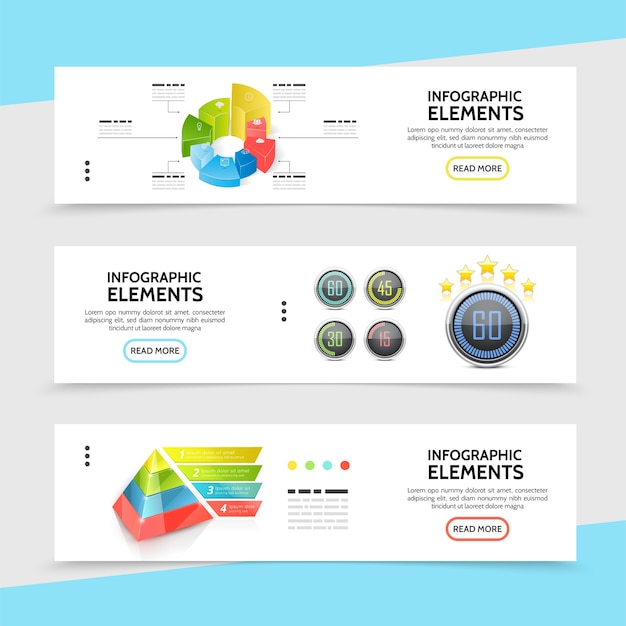 Realistic infographic horizontal banners