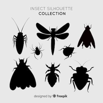 Реалистичная коллекция силуэтов насекомых
