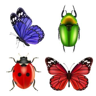 Реалистичные насекомые. бабочка, божья коровка, муравей, коллекция цветных насекомых. иллюстрация божья коровка и жулик, природа божья коровка