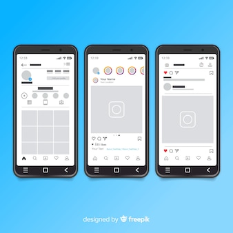 Realistic instagram photo frame on iphone collection