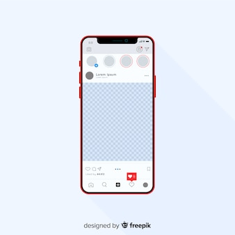 Realistic instagram photo frame on iphone template