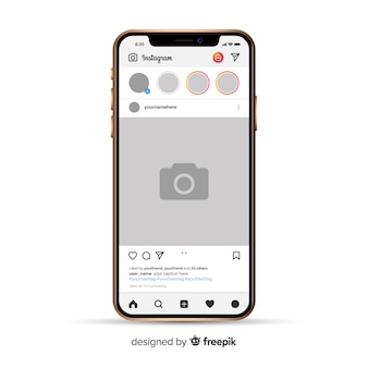Realistic instagram photo frame on iphone