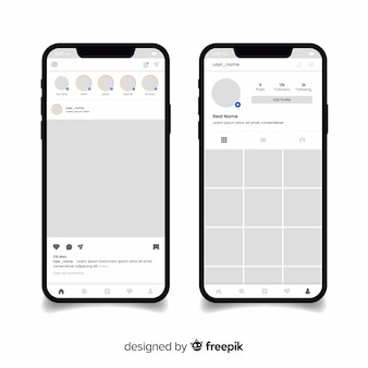 Realistic instagram photo frame on phone collection