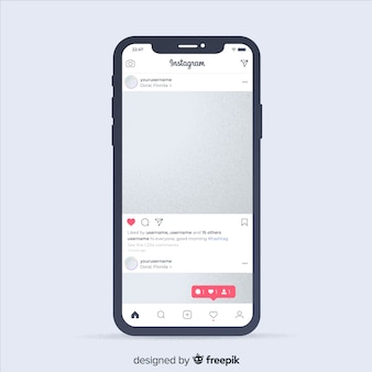 Realistic instagram photo frame on phone template