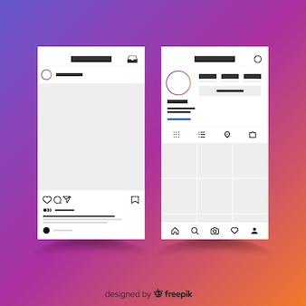 Cornice per foto instagram realistica sulla collezione di smartphone