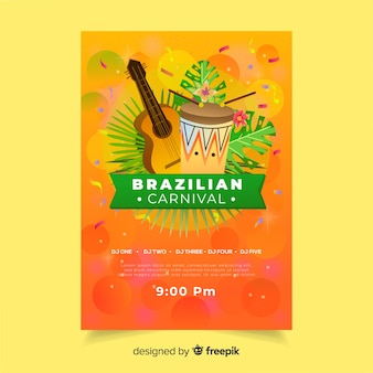 Realistic instruments brazilian carnival party poster