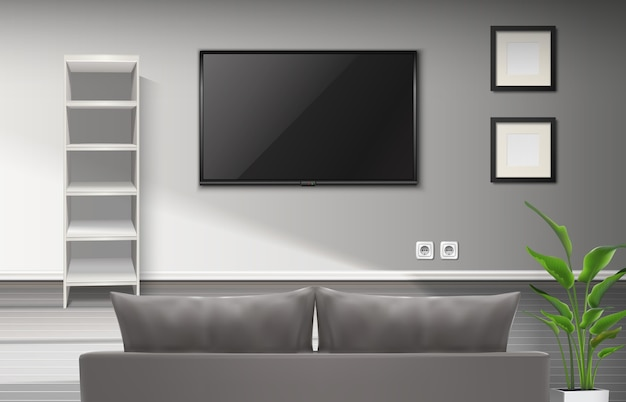 Realistic interior of living room with gray couch and tv screenplay