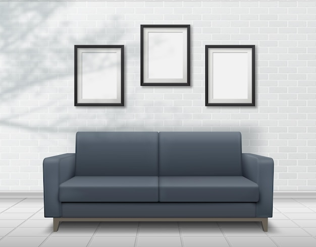Realistic interior sofa on brick wall background with photo frames. falling shadows overlay from plants. empty photo frame templates place for your design.