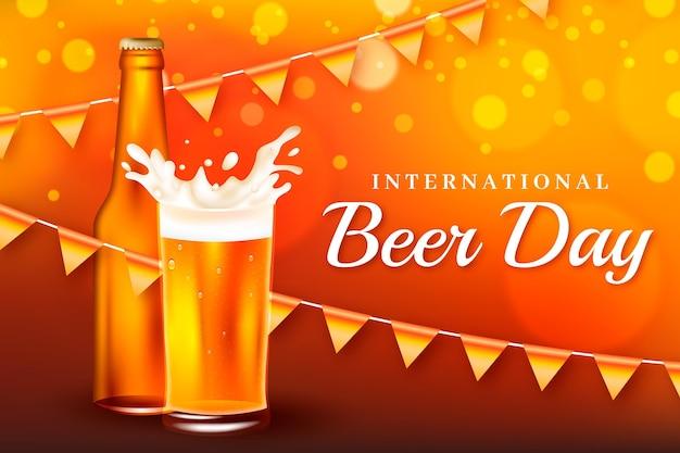 Realistic international beer day illustration