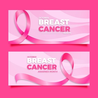 Set di banner orizzontali realistici per la giornata internazionale contro il cancro al seno