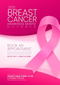 Realistic international day against breast cancer vertical flyer template