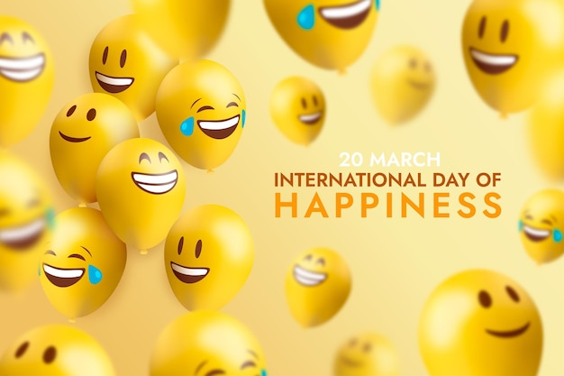 Realistic international day of happiness illustration with emojis and balloons