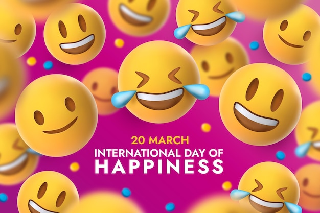 Realistic international day of happiness illustration with emojis