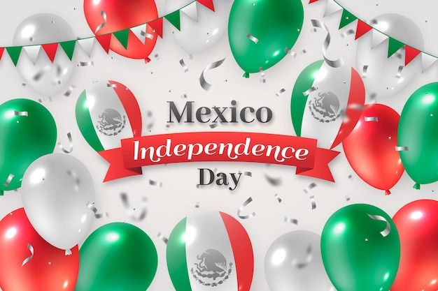 Realistic international day of mexico balloons background