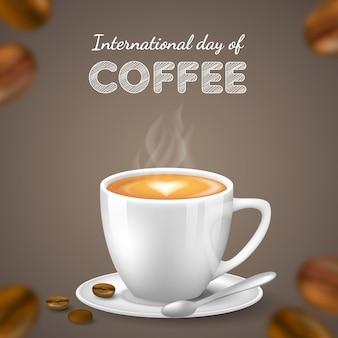 コーヒーの背景の現実的な国際デー Premiumベクター