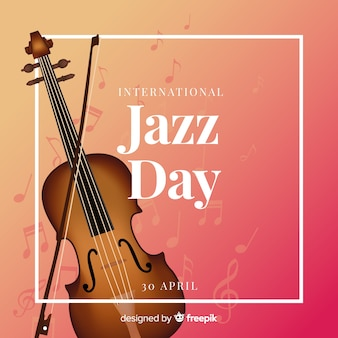 Realistic international jazz day background