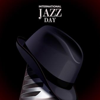 Realistic international jazz day and gentleman hat