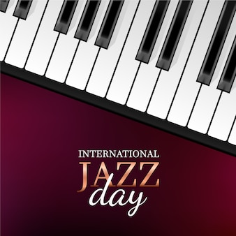 Realistic international jazz day with piano