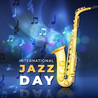 Realistic international jazz day with saxophone