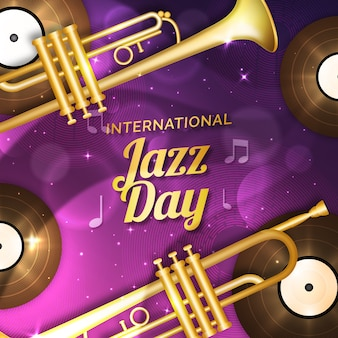 Realistic international jazz day with trumpets