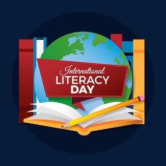 Реалистичная иллюстрация международного дня грамотности