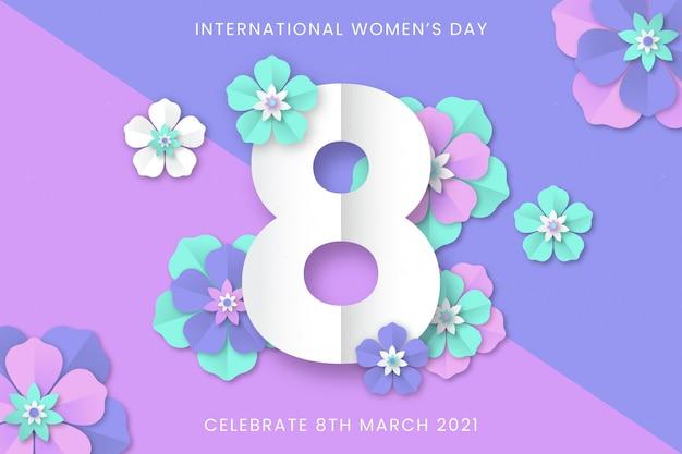 종이 스타일의 현실적인 국제 여성의 날 그림