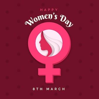 Реалистичная иллюстрация международного женского дня в бумажном стиле
