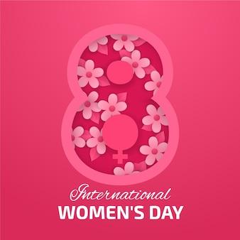 Illustrazione realistica della giornata internazionale della donna in stile carta
