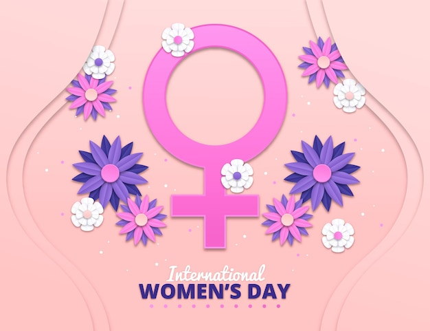 Realistic international women's day illustration with flowers and female symbol