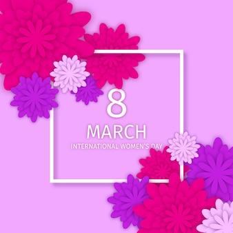 Illustrazione realistica della giornata internazionale della donna con cornice e fiori
