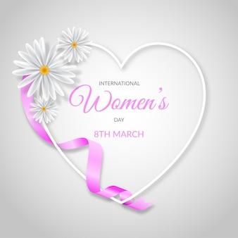 Реалистичная иллюстрация международного женского дня с сердцем и цветами