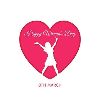 心と女性との現実的な国際女性の日のイラスト