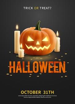Реалистичный пригласительный плакат с тыквой на хэллоуин и тремя зажженными свечами на черном