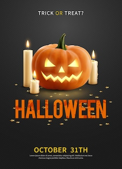 Manifesto realistico dell'invito con la zucca di halloween e tre candele accese sul nero