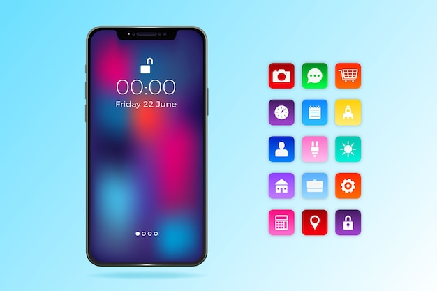Realistic iphone 11 with apps in gradient blue shades
