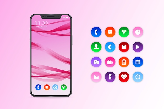 Realistic iphone 11 with apps in gradient pink shades