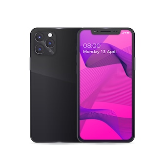 Realistic iphone 11 with black back case and lentils