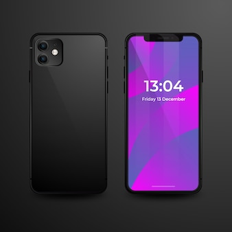 Realistic iphone 11 with black back cover
