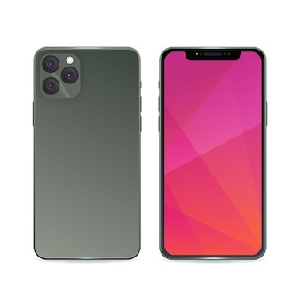 Realistic iphone 11 with gradient grey back case