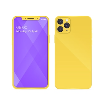 Realistic iphone 11 with yellow back case and open phone