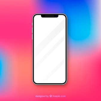 Realistic iphone x with white screen